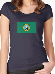 Washington State Flag USA Seattle Bedspread T-Shirt Sticker Women's Fitted Scoop T-Shirt
