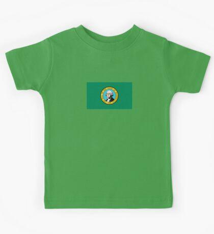 Washington State Flag USA Seattle Bedspread T-Shirt Sticker Kids Tee