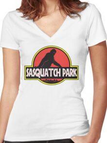 Sasquatch Park Bigfoot Parody T Shirt Women's Fitted V-Neck T-Shirt