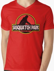 Sasquatch Park Bigfoot Parody T Shirt Mens V-Neck T-Shirt