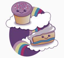 Super cute Yummy yummy Rainbow cakes One Piece - Short Sleeve