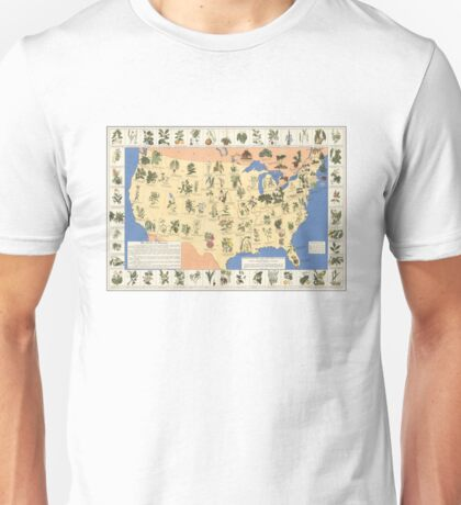 1932 Medicinal Plant Map of the United States. Amazing map of 'Herbal Cures' Unisex T-Shirt