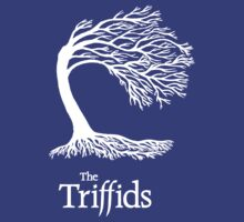 Triffids tree and logo in white - tree by Martyn P Casey