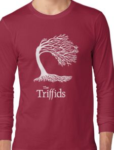 Triffids tree and logo in white - tree by Martyn P Casey Long Sleeve T-Shirt