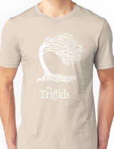 Triffids tree and logo in white - tree by Martyn P Casey Unisex T-Shirt