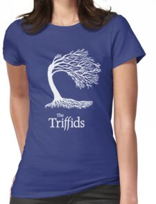 Triffids tree and logo in white - tree by Martyn P Casey Womens Fitted T-Shirt