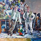 Send in the Clowns - portrait of the artist & his father by Tanya Zaadstra