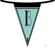 Manhattan 1920s Deco Blues Banner… Monogram letter initial B by CecelyBloom