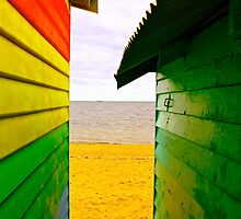 View Through The Bathing Boxes Brighton Beach by Ronald Rockman