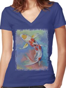 Butterfly Koi Fish Women's Fitted V-Neck T-Shirt