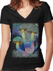 Magic Mushrooms Women's Fitted V-Neck T-Shirt