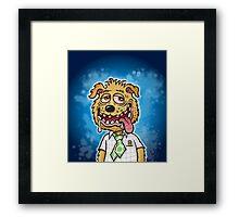 Scum Pup Dog on Blue Mottled Background Framed Print