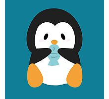 Penguin eating fish Photographic Print