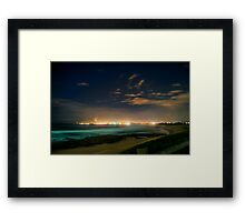 Midnight Beach Lights Framed Print