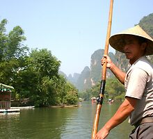 Boat Punter, Yangshuo by justineb