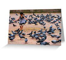 Pigeon Chasing in Durbar Square, Kathmandu Greeting Card