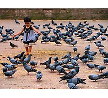 Pigeon Chasing in Durbar Square, Kathmandu Photographic Print