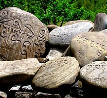Tibetan Prayer Stones, Annapurna Circuit, Nepal by Maggie Woods