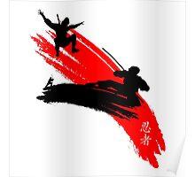 Ninjas having a sword fight.  Poster