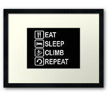 Eat Sleep Climb Repeat Cycling Funny Shirt Framed Print