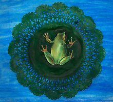 Frog On Doily Pad (Drawing Day 2010) by Carrie Glenn