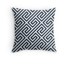 Navy Greek Keys Geometric Pattern Throw Pillow