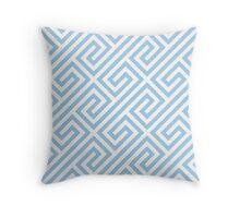 LightBlue Greek Keys Geometric Pattern Throw Pillow