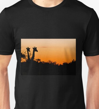 Giraffes in the African Sunset Unisex T-Shirt