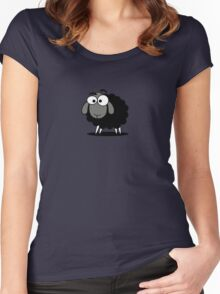 Black Sheep Cartoon Funny T-Shirt Sticker Duvet Cover Women's Fitted Scoop T-Shirt