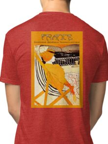 Century old French Transatlantic Steamship advert travel poster Tri-blend T-Shirt