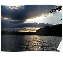 Beautiful Sunset on Reservoir Poster