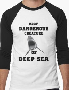 Dangerous Shark Design T-Shirt Men's Baseball ¾ T-Shirt