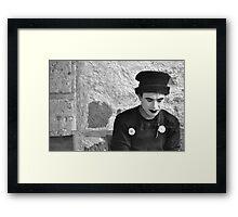 Pensive Mime (B&W) Framed Print