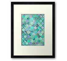Cool Jade & Icy Mint Decorative Moroccan Tile Pattern Framed Print