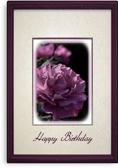 Happy Birthday - Mauve Rose by Joy Watson