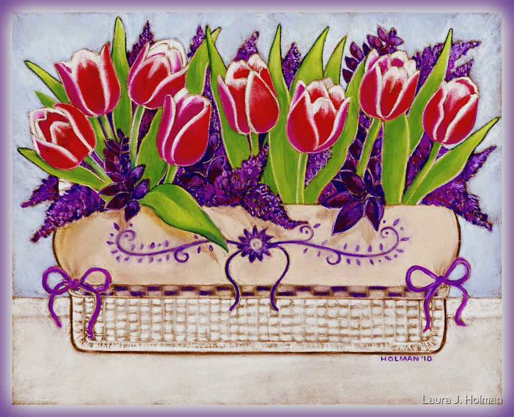 Spring Tulips in a Linen Basket by Laura J. Holman