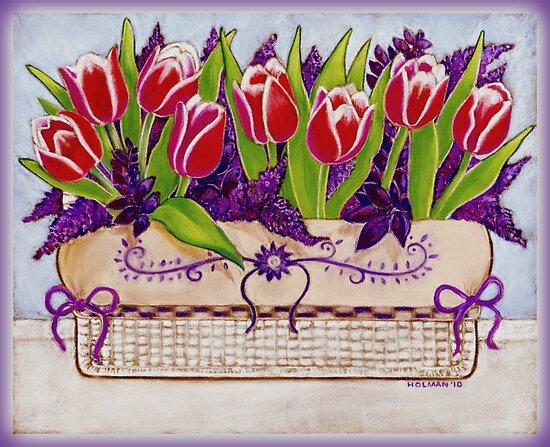 Spring Tulips in a Linen Basket by Laura J. Holman