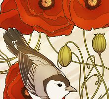Grey Bird, Red Flowers by Kiri Moth