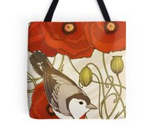 Grey Bird, Red Flowers Tote Bag
