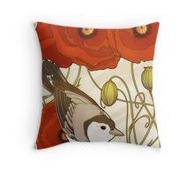 Grey Bird, Red Flowers Throw Pillow