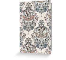 Woodland Birds - hand drawn vintage illustration pattern in neutral colors Greeting Card