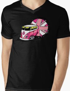 British Splitty, Pink Mens V-Neck T-Shirt