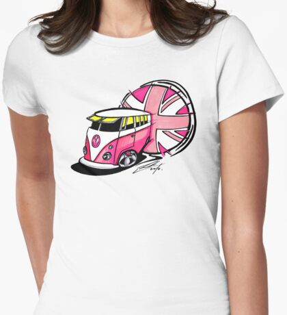 British Splitty, Pink Womens Fitted T-Shirt