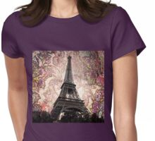 Floral Eiffel Tower Womens Fitted T-Shirt