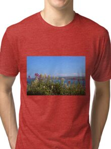 Sea And Flowers At North Cornwall Tri-blend T-Shirt