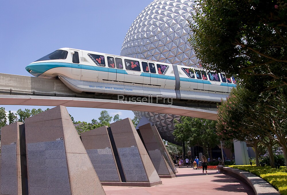 WDW Monorail and Spaceship Earth by Russell Fry