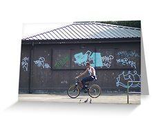 Cycling Past Graffiti - Urban Noise Series Greeting Card