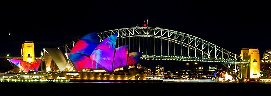 Sydney Opera House &amp; Harbour Bridge - Vivid Festival by Bryan Freeman