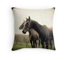 Melancholic Horses Throw Pillow