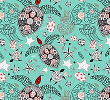marine pattern of skulls and stars by Tanor
